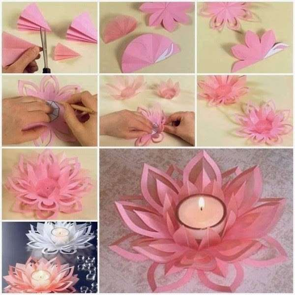Fiore di carta for Diy paper lotus candlestick