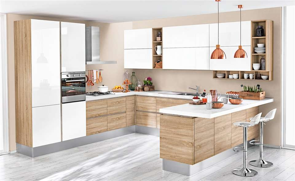 Beautiful Cucina Rovere Sbiancato E Bianco Contemporary - Skilifts ...