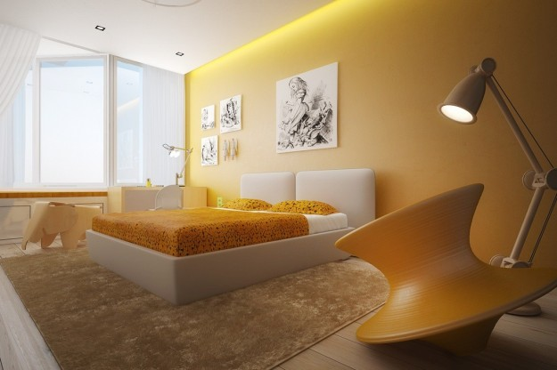 Pareti Color Giallo Ocra : Bedroom Color Schemes with Yellow