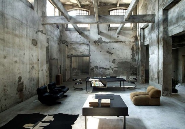 Living room stile industriale for Design moderno casa industriale