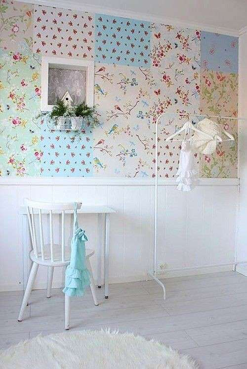 Mix di carte da parati shabby chic