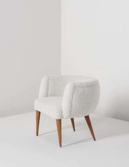 Boule armchair, Oak and Sheepskin anni 50
