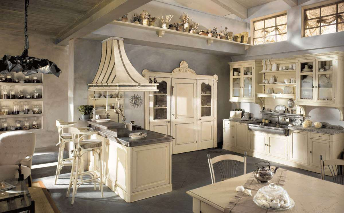 Cucina country chic color panna