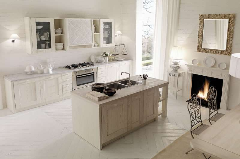 Cucina country chic con isola