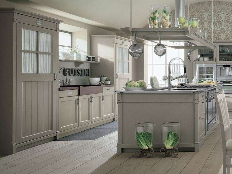 Cucina country chic grigia