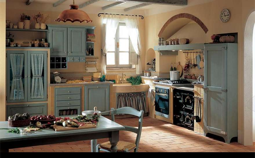 Cucina country chic verde