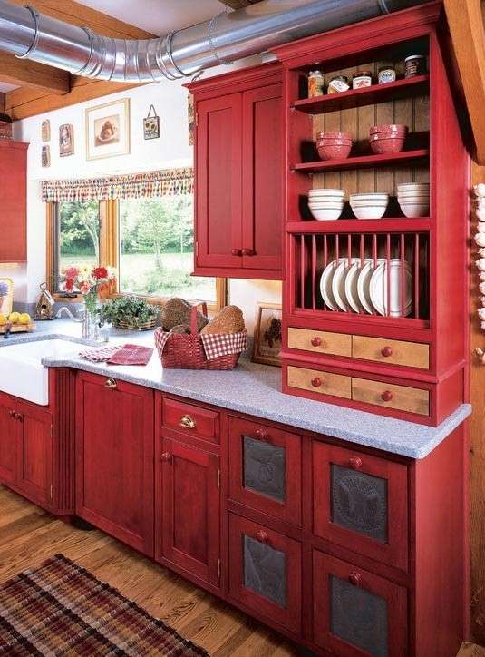 Cucina country rossa