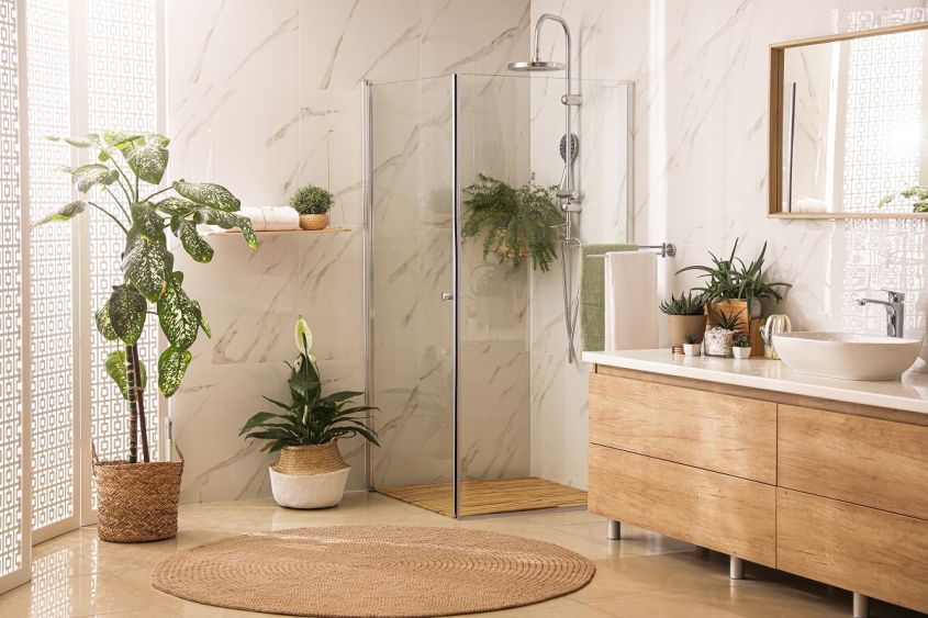 Stylish,Bathroom,Interior,With,Countertop,,Shower,Stall,And,Houseplants.,Design