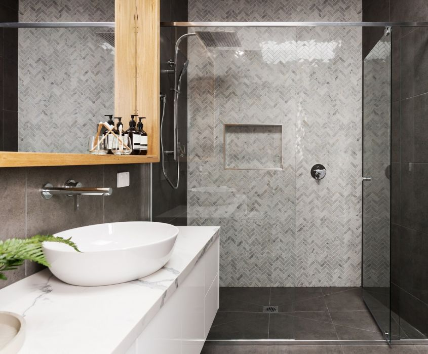 Marble,Mosaic,Herringbone,Tiled,Shower,Feature,Wall,In,A,Contemporary