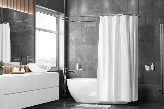 Blank,White,Half,Open,Shower,Curtain,Mockup,,Half turned,View,,3d