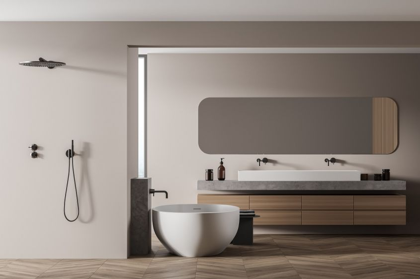 Light,Wooden,And,Beige,Bathroom,With,Two,Sinks,,Shower,And