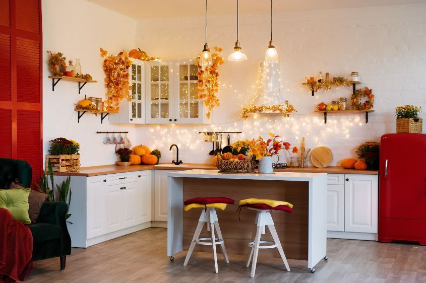 Autumn,Kitchen,Interior.,Red,And,Yellow,Leaves,And,Flowers,In
