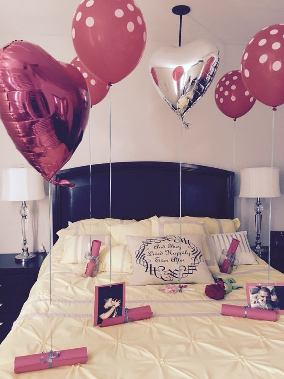 decorare camera da letto san valentino palloncini