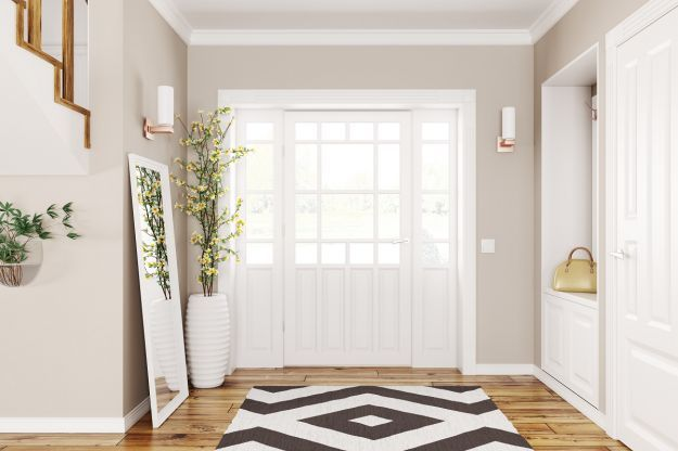 Interior,Design,Of,Modern,Hallway,With,Doors,And,Staircase,3d
